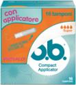 Foto di una confezione di o.b.® Compact Applicator Super. Il prodotto ha quattro goccioline, che indicano che è consigliato per flusso da medio a intenso.