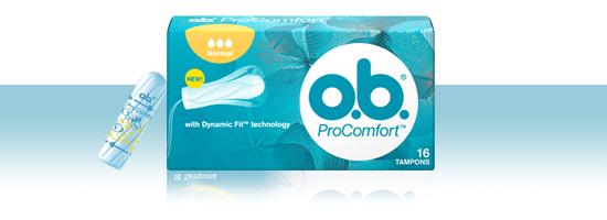 Foto di diversi prodotti della gamma di assorbenti interni o.b.®: o.b.® Linea Base e o.b.® ProComfort™.