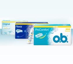 Foto di diversi prodotti della gamma di assorbenti interni o.b.®: o.b.® Original e o.b.® ProComfort™.